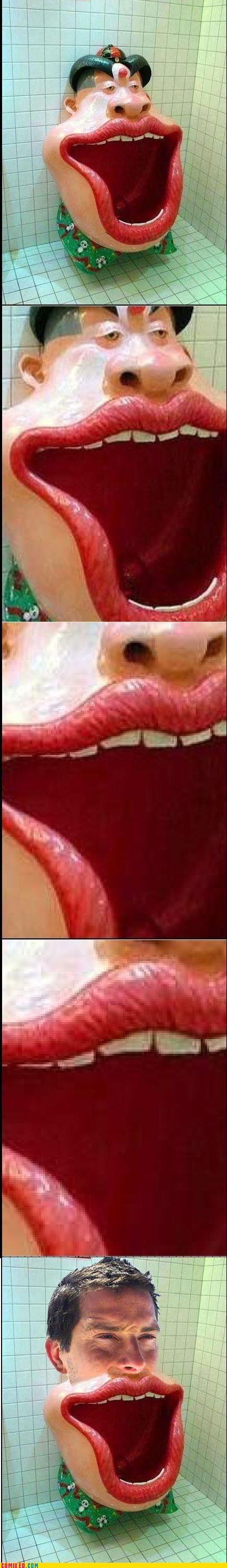 awesome bear grylls mouth pee TV urinal - 4950445312