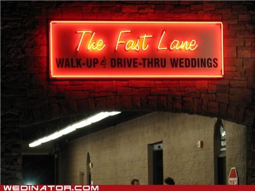 chapel,drive-thru wedding,funny wedding photos