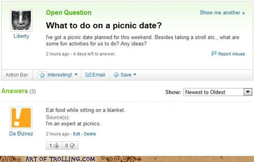 date,expert,picnic,Yahoo Answer Fails