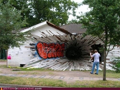 art blackhole house painting wtf