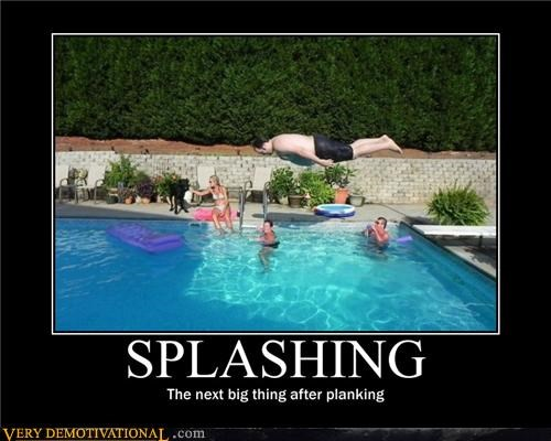 hilarious,Planking,pool,splashing,swimming