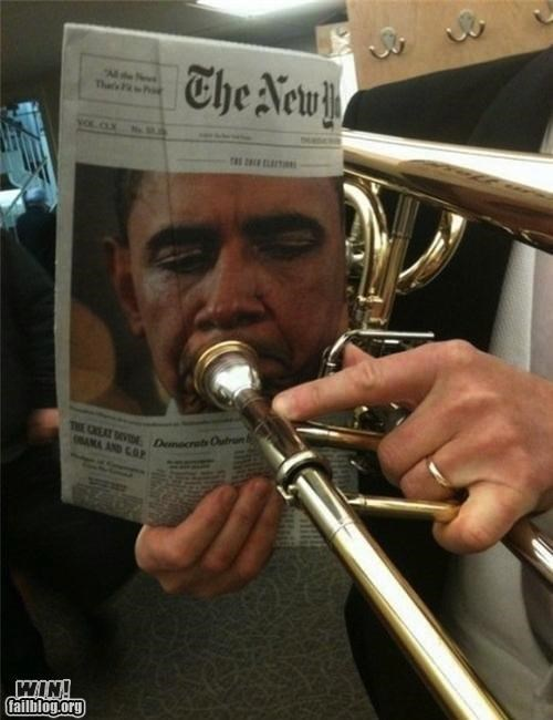 clever,instrument,newspaper,obama,the president,trombone
