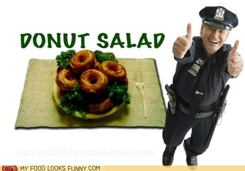 cop,donuts,salad,thumbs up