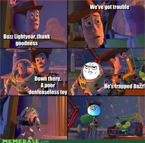 buzz,i lied,pixar,Rage Comics,toy story,troll,woody