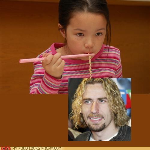 chad kroeger eat hair kid nickleback noodles ramen - 4953365504