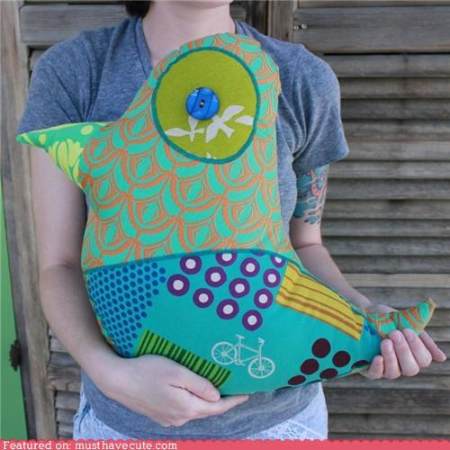 bird button colorful patchwork patterns Pillow - 4953463040