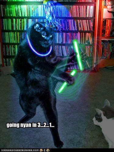 1 2 3 caption captioned cat countdown dancing glow sticks going nyan Nyan Cat photoshop
