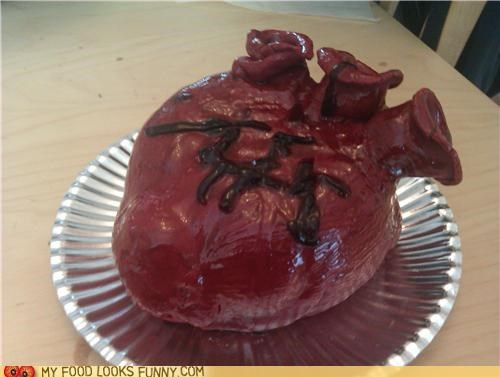 anatomical,cake,frosting,heart,red