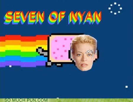 borg,jeri ryan,literalism,Nyan Cat,seven of nine,similar sounding,Star Trek
