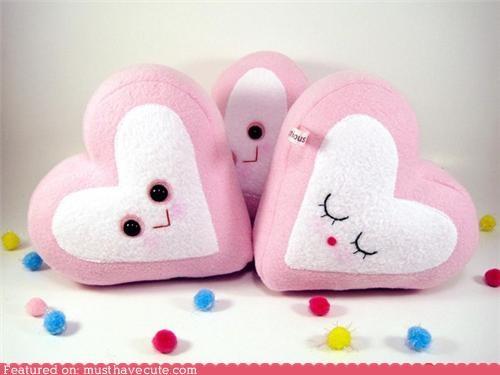 candy face fleece heart Pillow Plush - 4956417792
