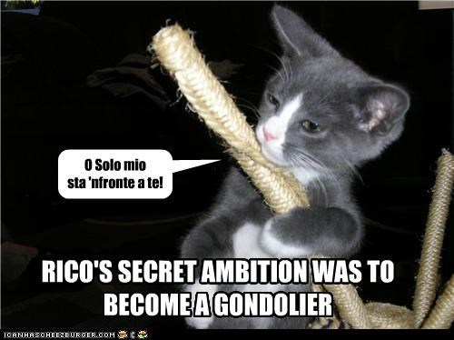 RICO'S SECRET AMBITION WAS TO BECOME A GONDOLIER O Solo mio sta 'nfronte a te!