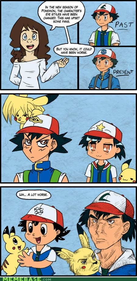 anime,ash ketchum,comic,eyes,pikachu