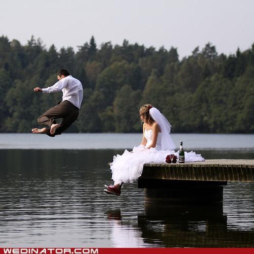 bride funny wedding photos jump jumping groom lake water - 4957178880