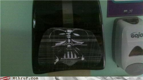 bathroom,darth vader,paper towels,star wars