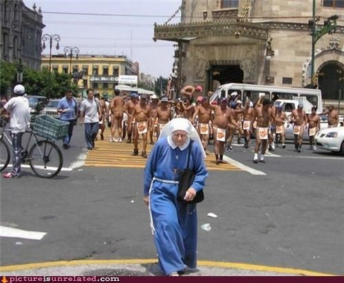 guys in the buff,nun,run,wtf