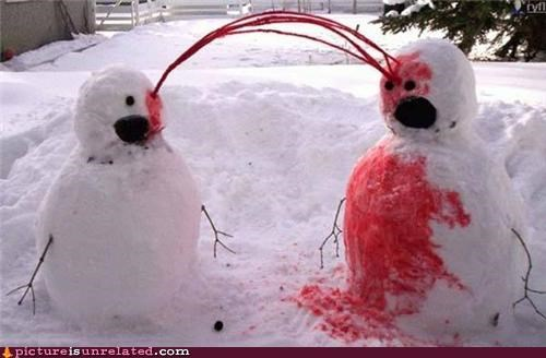 Blood,eww,snowman,wtf