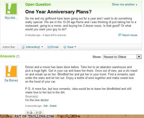 anniversary date romantic scary Yahoo Answer Fails - 4959251456
