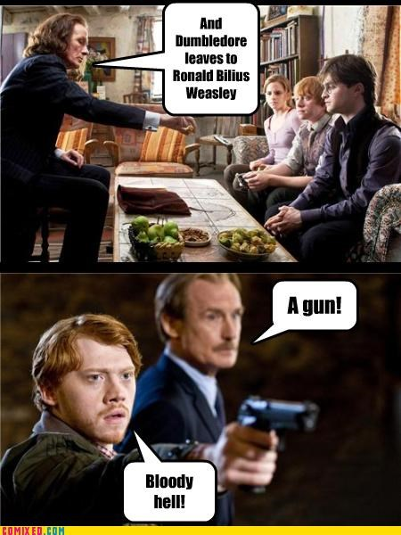 gun,Harry Potter,ministry of magic,Ron Weasley,rufus scrimgeour