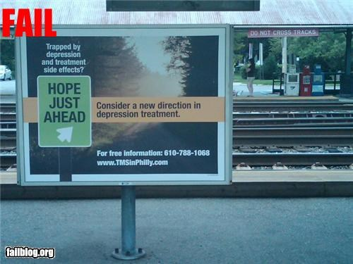 Ad billboard failboat g rated Hall of Fame hope oops signs train tracks trains - 4960663040