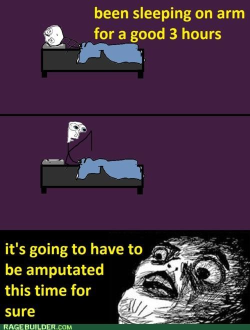amputation,arm,asleep,numb,Rage Comics,raisin face
