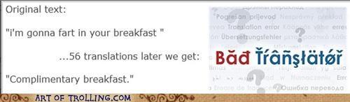 Bad Translator breakfast complimentary fart - 4961284096