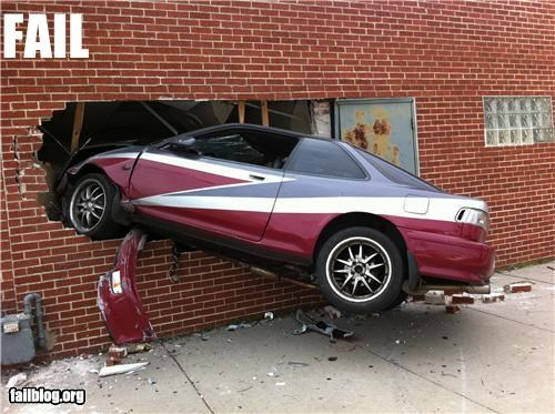brick cars crashed driving g rated wall - 4961358592