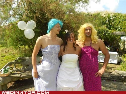bride,crossdressing,funny wedding photos,sisters