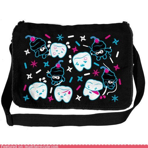 bag,Battle,cupcakes,messenger bag,ninjas,teeth