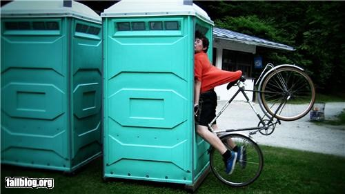 bicycle,crashed,failboat,g rated,poop,porta potty,watch out
