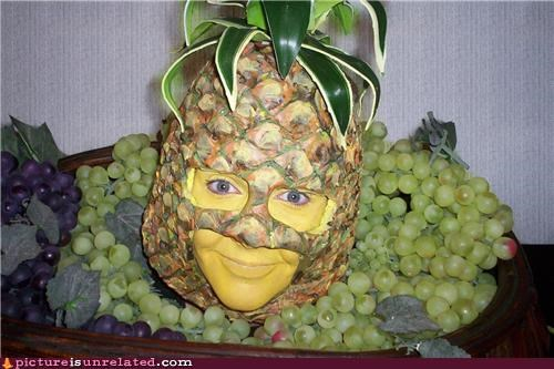 creepy fruit grapes lady pineapple wtf - 4962243584
