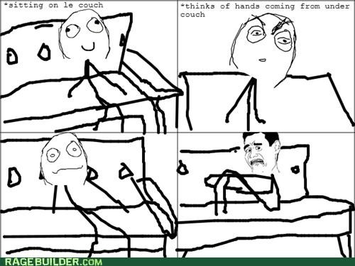 couch hands Rage Comics scared scary