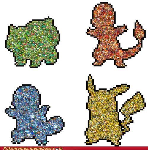 bublasaur charmander pikachu squirtle starter