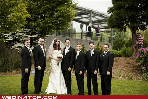 bride,funny wedding photos,groom,photobomb,waldo,wally