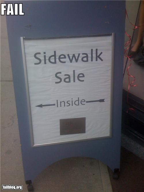confusing g rated inside outisde sale sidewalk signs
