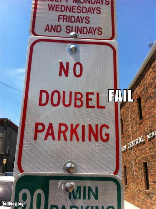 g rated parking signs spelling