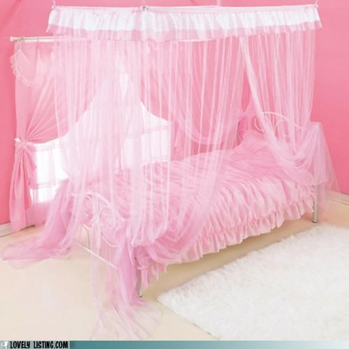 bed,canopy,netting,pink,Tulle