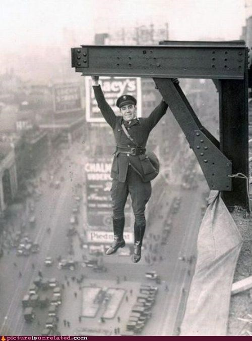 cop dangerous hanging ibeam old timey wtf