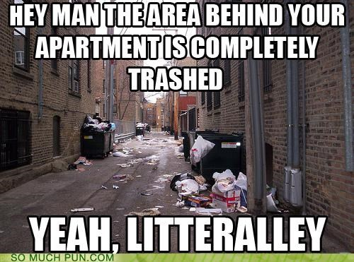 alley,garbage,literalism,literally,litter,similar sounding,trash,trashed