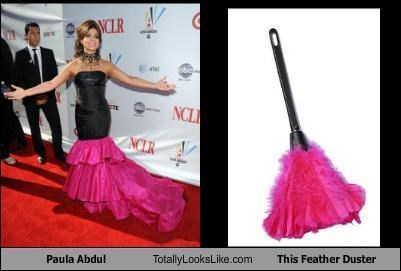 classics,feather duster,musicians,paula abdul,pink ruffles,red carpet,singers,ugly dress