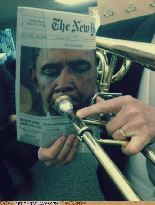 IRL newspaper obama trombone - 4963417088