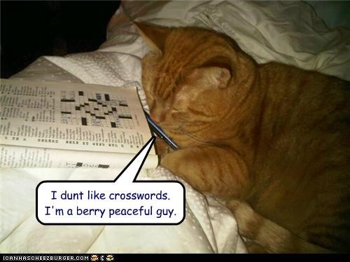 caption,captioned,cat,cross,crosswords,dislike,do not want,peaceful,pun,tabby,words