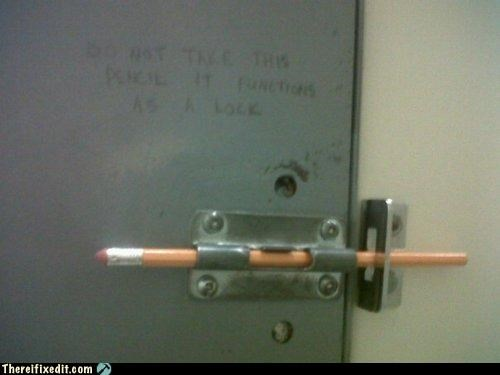 bad puns bathroom kludge dual use pencil security