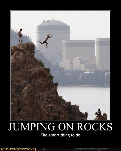bad idea hilarious jumping rocks wtf