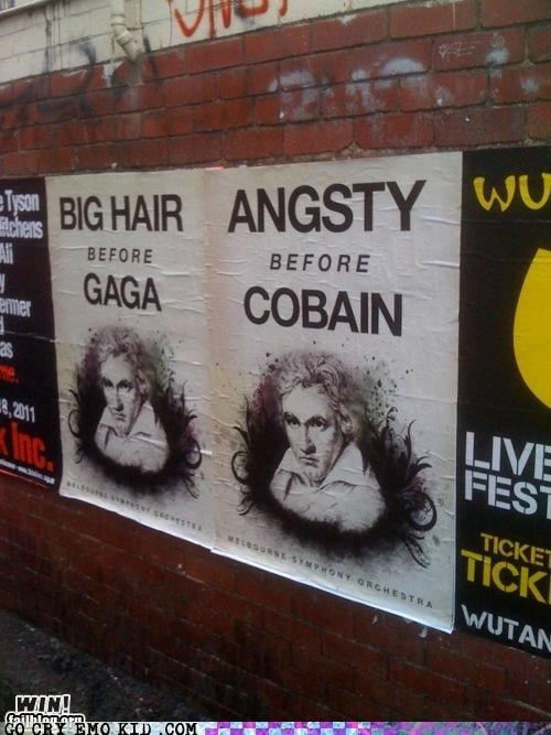 Beethoven,hipsterlulz,kurt cobain,lady gaga