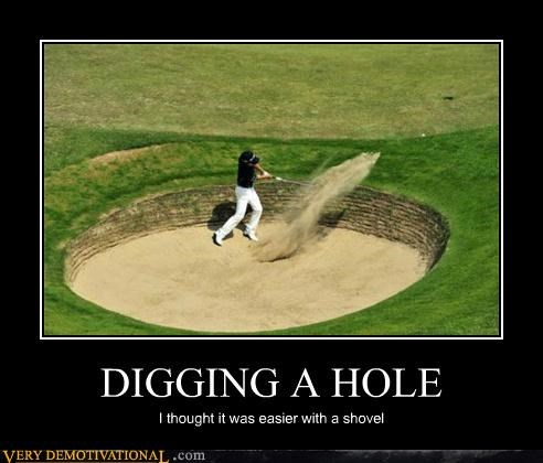 digging,golf,hilarious,hole,sand trap