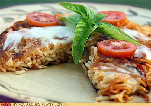 basil fried pizza spaghetti tomato