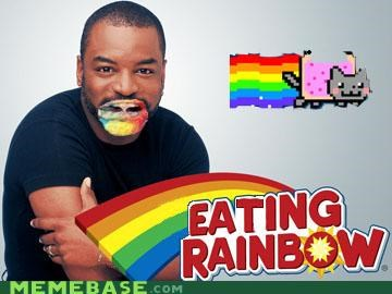 eating,geordi,levar burton,Nyan Cat,rainbow,reading rainbow