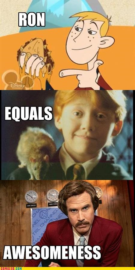 Harry Potter,Kim Possible,ron burgandy,Ron Weasley