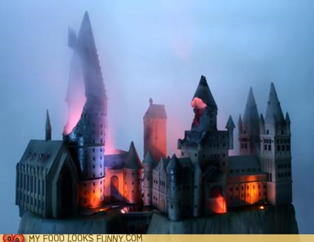 aftermath Battle cake castle fire Harry Potter Hogwarts lights school