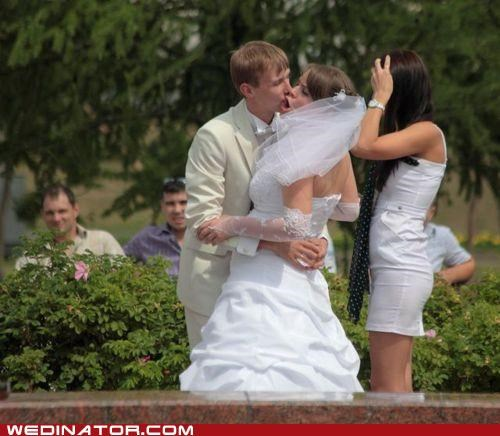 funny wedding photos KISS photobomb